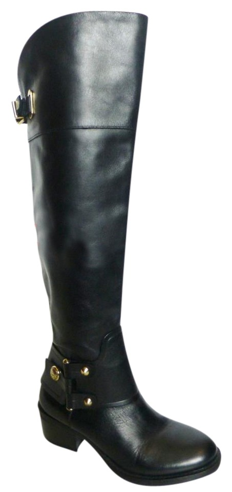 73802d12bee Vince Camuto Black Broklee Leather Over The Knee Boots Booties Size ...