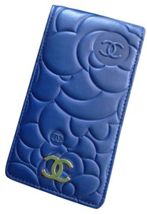 Chanel Chanel Camelia Blue Leather iPhone Case Holder