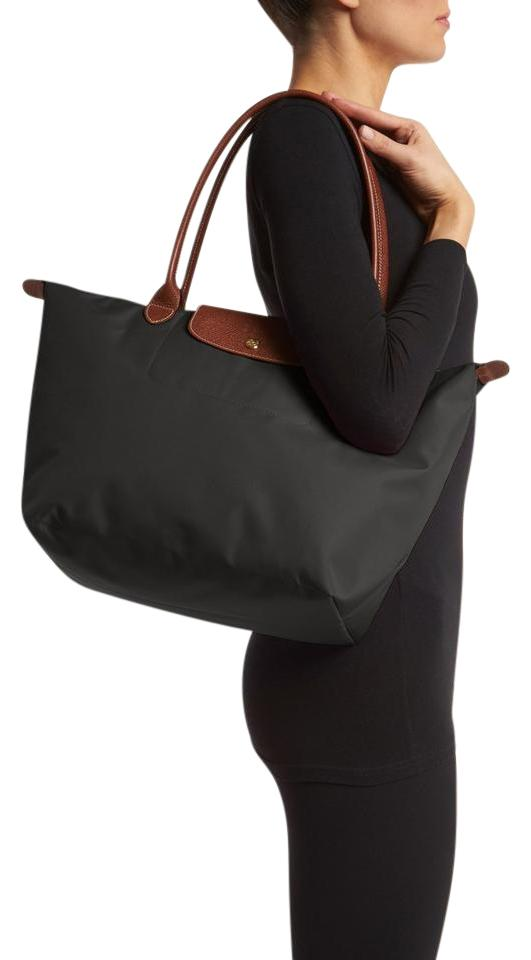 6efc8cc91 Longchamp Le Pliage Large Long-handle Black Nylon Tote - Tradesy
