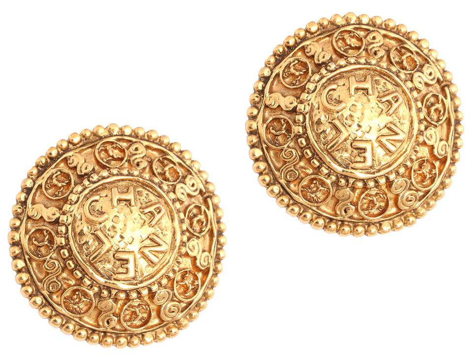 Chanel Large Round Vintage Golden Clip Earrings