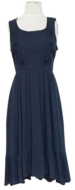 Item - Navy Ruffle Hi Low Hem Embroidered Bohemian Hippy Gypsy Ankle Length Long Casual Maxi Dress Size 4 (S)