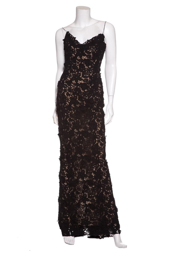 Oscar De La Renta Black Lace Evening Gown Long Formal Dress Size 4
