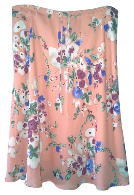 Other Studio C. Pink Salmon Multi-color Floral A Line Skirt Salmon Pink