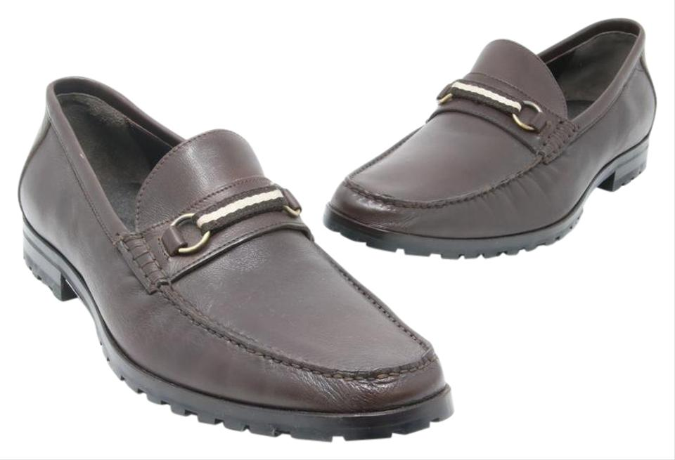 b8afb5b086a4 Bally Dark Brown Signature Men s Leather Moccasin Mismatch Loafers 9.5-8.5  Formal Shoes