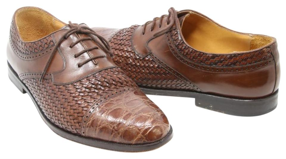 77f58d592 Mezlan Brown Acapulco Ii Genuine Croc Cap Toe Woven Leather Oxford Men s  Formal Shoes
