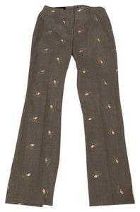 Escada Embroidered Floral Wool Vintage Trouser Pants Gray