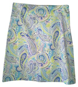 Jaclyn Smith Paisley Turquoise Blue Multi Midknee Spandex Skirt Blue Paisley