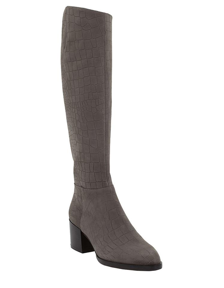 73e250aac8a5b Sam Edelman Grey Joelle Croc Embossed Suede Leather Tall Boots ...