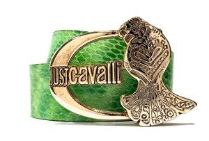 Just Cavalli ROBERTO CAVALLI Green Genuine Leather Reptile Style Belt Size 85