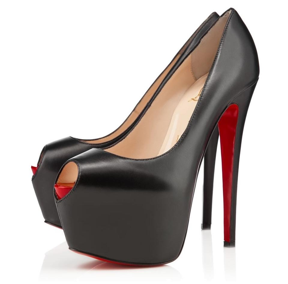 save off cdedd 98425 Christian Louboutin Black New Highness 39it Lady Red Sole Peep Toe High  Heel Leather Platform Pumps Size EU 39.5 (Approx. US 9.5) Regular (M, B)