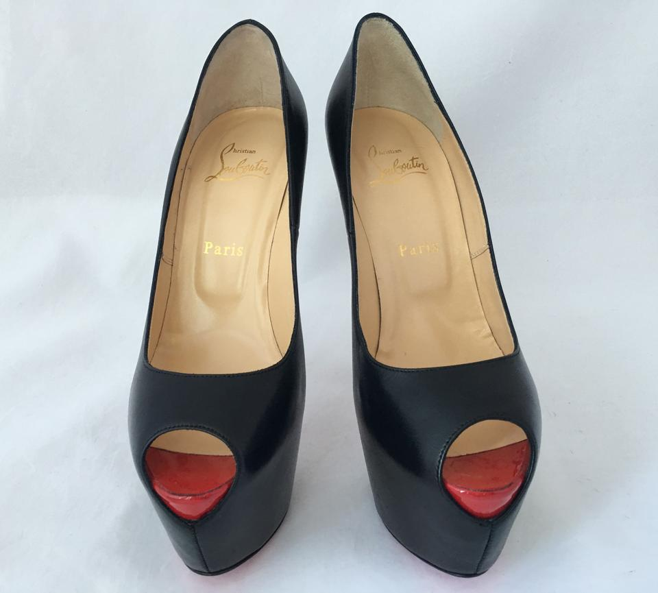c92b5a35cce Christian Louboutin Black New Highness 39it Lady Red Sole Peep Toe High  Heel Leather Platform Pumps Size EU 39.5 (Approx. US 9.5) Regular (M, B)