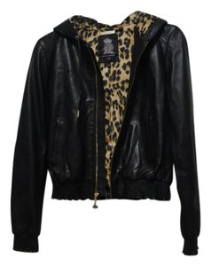 Juicy Couture Hooded Leather Lambskin Animal Black, Leopard Print Jacket