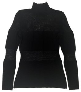 Rena Lange Transparent Chic Turtleneck Casual Night Out Sweater