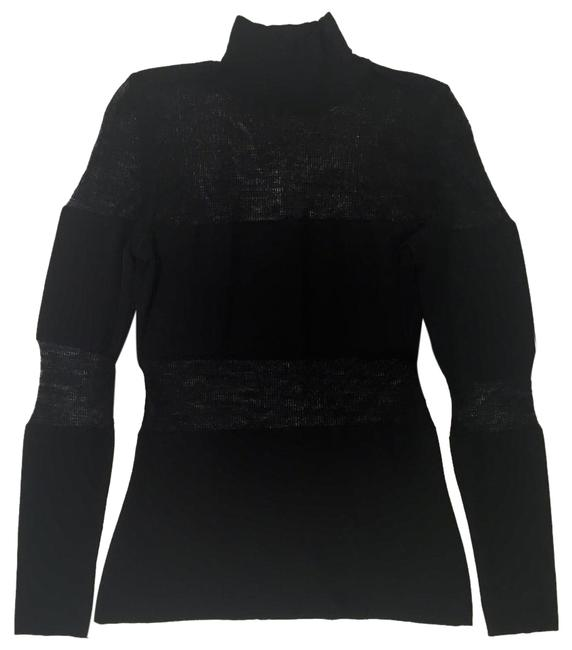Rena Lange Transparent Chic Turtleneck Casual Night Out Sweater Image 0
