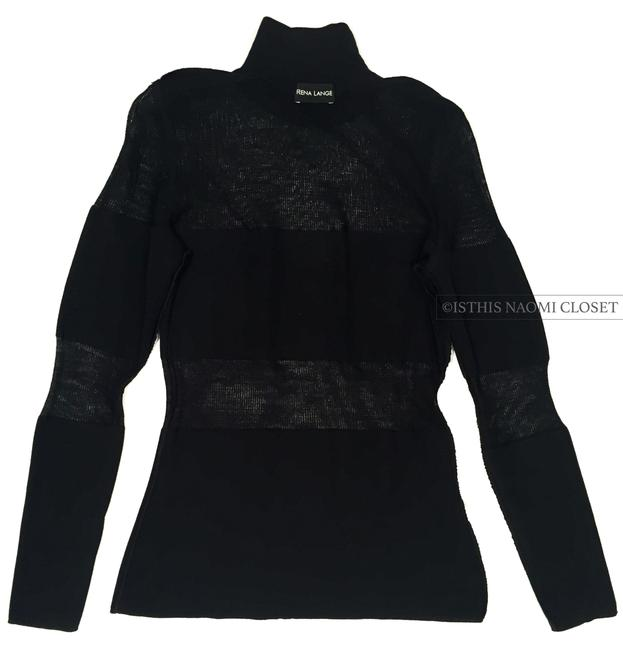 Rena Lange Transparent Chic Turtleneck Casual Night Out Sweater Image 1