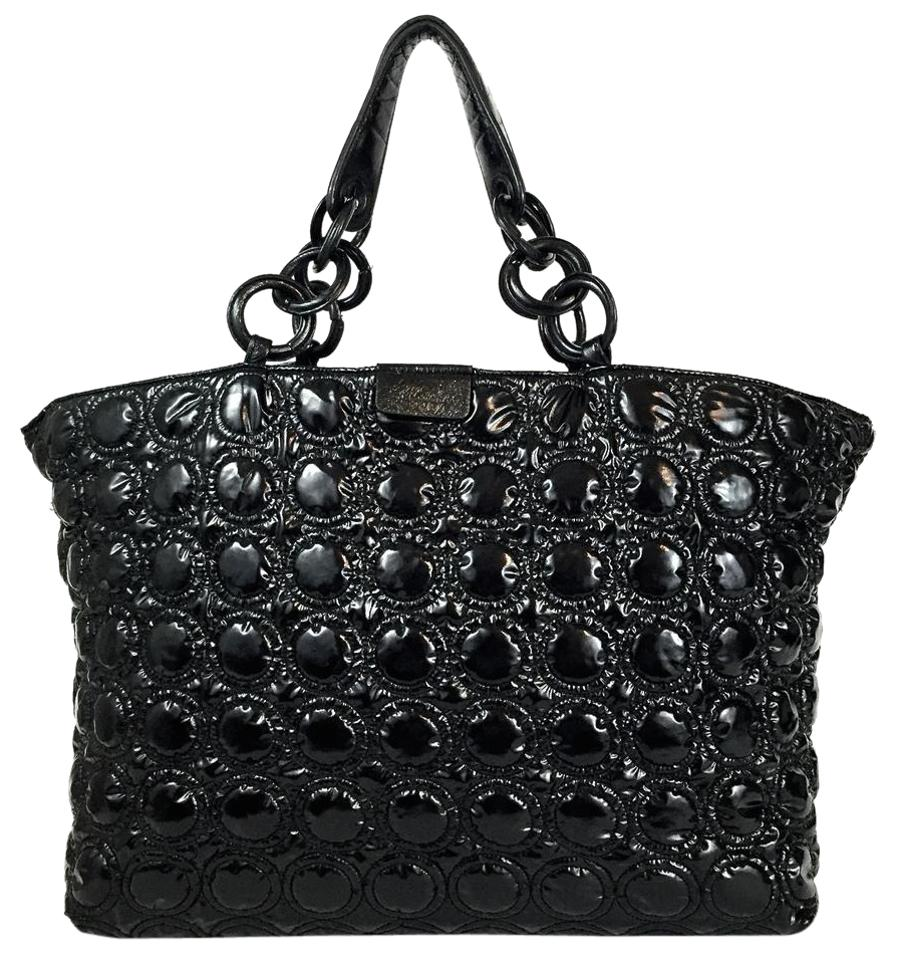 1f6c2dee34 Sequoia Circular-quilted Xxl Double Shoulder Black Patent Leather Tote