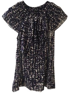 Ann Taylor Top Navy Print