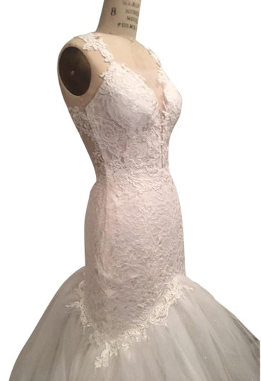 White Light Ivory Lace Sparkle Tulle Sheer Net Low Back Mermaid Layers Super Long Train Sexy Wedding Dress Size 0 (XS) Image 1
