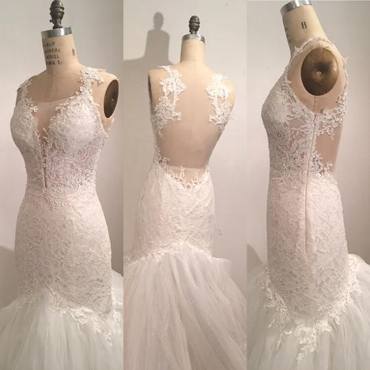 White Light Ivory Lace Sparkle Tulle Sheer Net Low Back Mermaid Layers Super Long Train Sexy Wedding Dress Size 0 (XS) Image 2