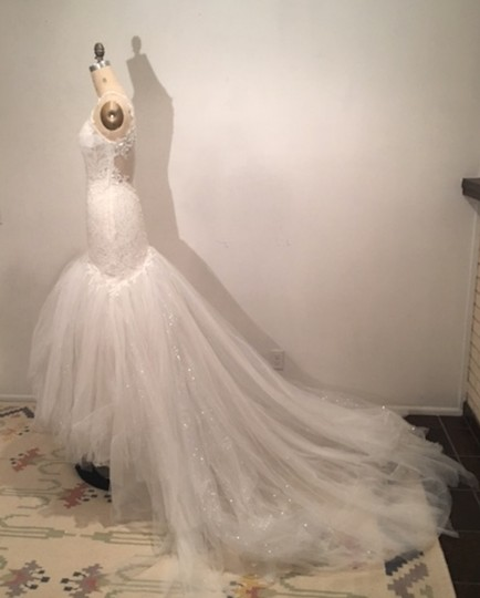 White Light Ivory Lace Sparkle Tulle Sheer Net Low Back Mermaid Layers Super Long Train Sexy Wedding Dress Size 0 (XS) Image 6