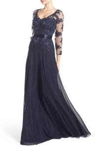 JS Collections Navy Blue Embelished Lace Dress