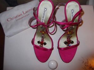 Christian Lacroix Colorful Sparkling Crystals Bright Pink Sandals
