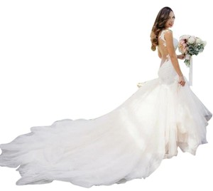 White Light Ivory Lace Sparkle Tulle Sheer Net Low Back Mermaid Layers Super Long Train Sexy Wedding Dress Size 4 (S)