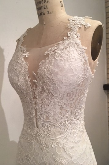 White Light Ivory Lace Sparkle Tulle Sheer Net Low Back Mermaid Layers Super Long Train Sexy Wedding Dress Size 4 (S) Image 10