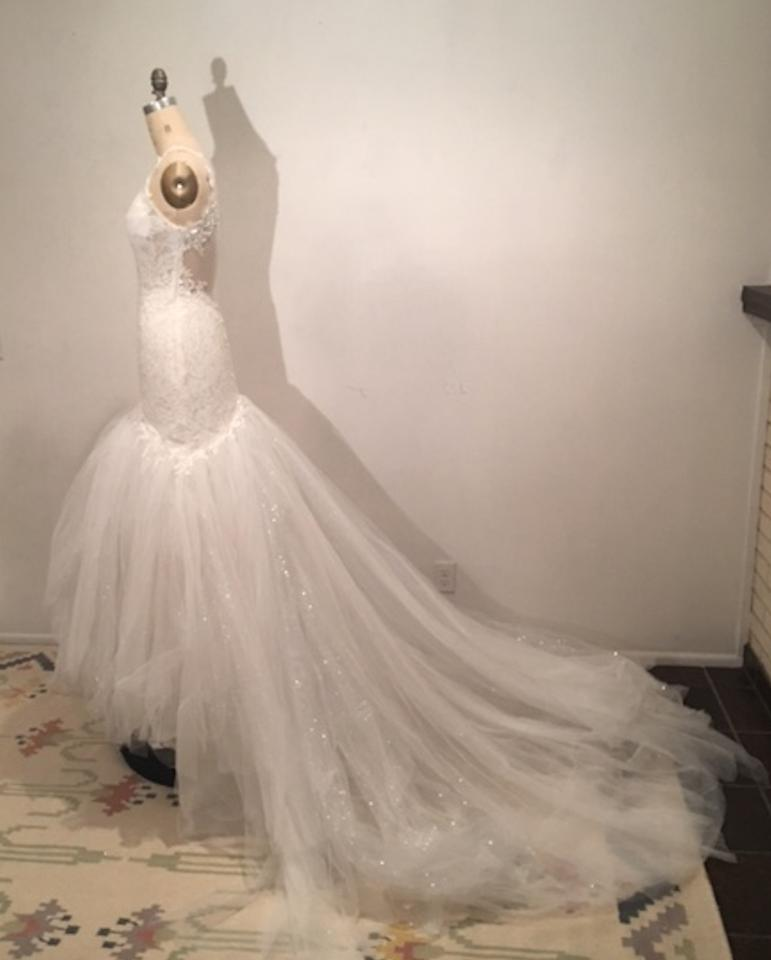 White light ivory lace sparkle tulle sheer net low back for Super low back wedding dress