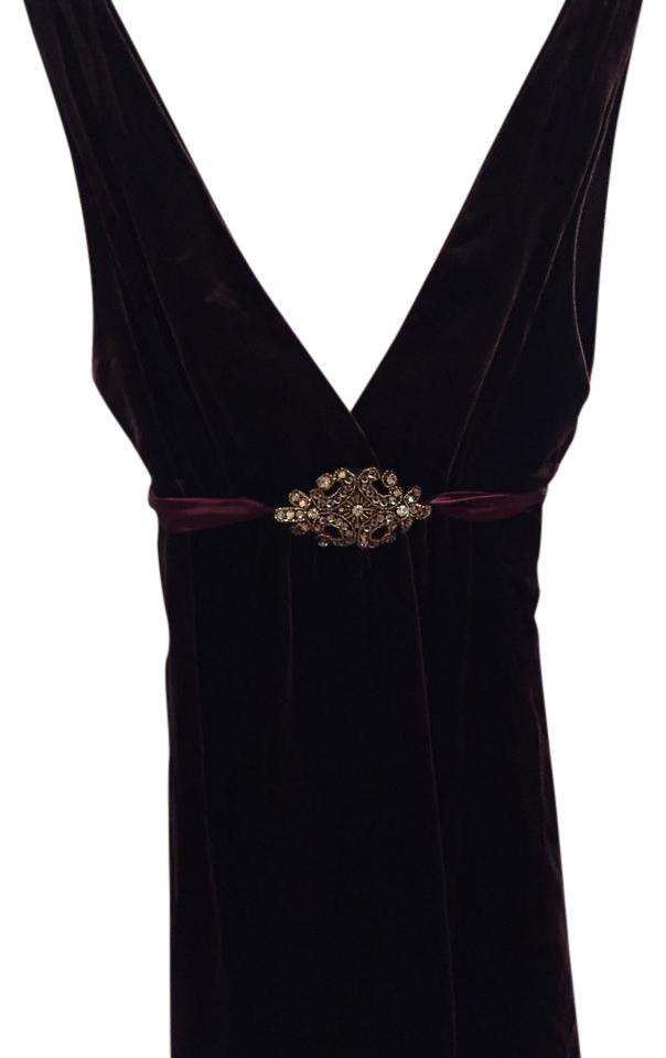 36403621920 Laundry by Shelli Segal Brown Velvet with Gold Adornment Cocktail Dress.  Size: 6 ...