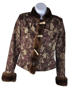 John Galliano Silk Mink Jacket Multi Browns Floral Blazer