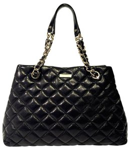 Kate Spade Gold Hardware Quilted Logo Oversized Business Tote in Black