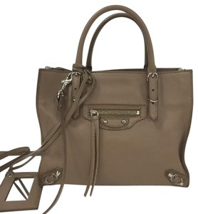 Balenciaga Papier Studs Leather Tote in Taupe