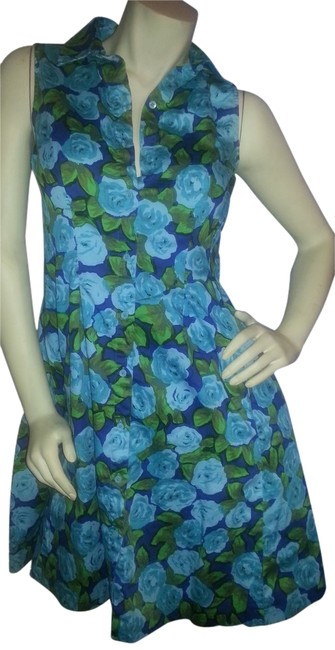 Preload https://item4.tradesy.com/images/talbots-teal-green-floral-on-blue-background-fit-and-flare-button-down-front-knee-length-short-casua-2207743-0-0.jpg?width=400&height=650