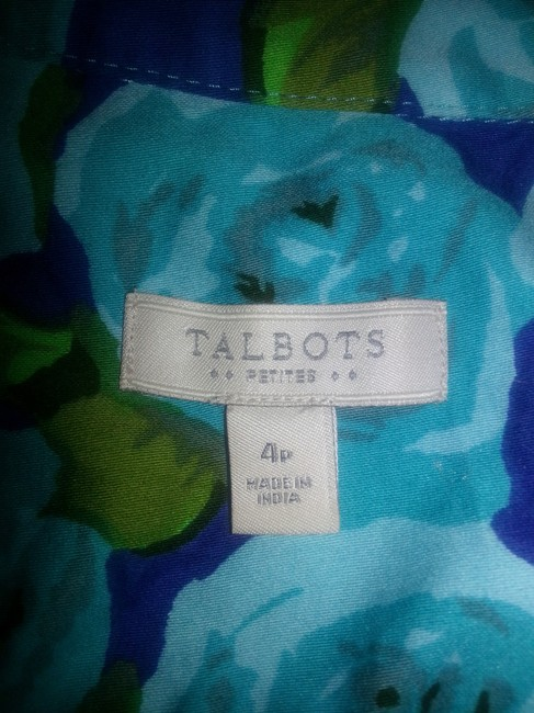 Talbots short dress teal, green floral on blue background on Tradesy