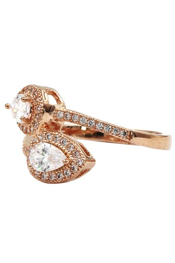 Ocean Fashion Dislocation relative crystal rose gold ring Image 1
