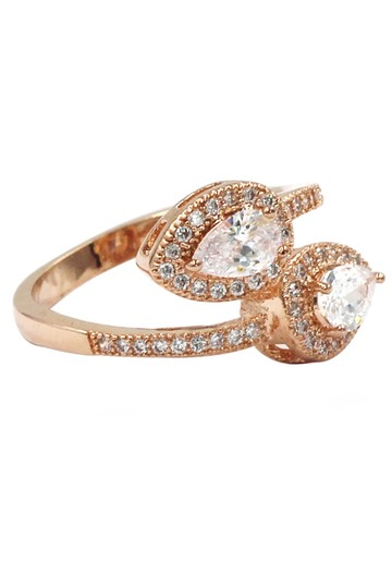 Ocean Fashion Dislocation relative crystal rose gold ring Image 5