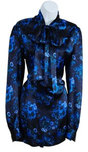 John Galliano Silk Dress Floral Blue Tunic