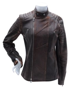 John Galliano Embroidered Lambskin Biker Moto Leather Size 44 Size 14 Moto Motorcycle Jacket