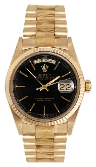 Rolex 18K Yellow Gold Daydate Black Dial 36mm Men's Presidential Watch