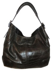 Antonio Melani Leather Croc Hobo Shoulder Bag