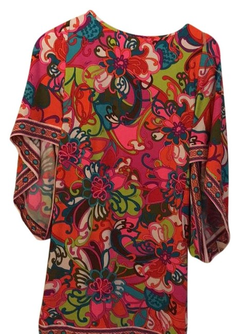 Item - Teal Pink Orange Lime- Floral Magic Cover-up/Sarong Size 4 (S)