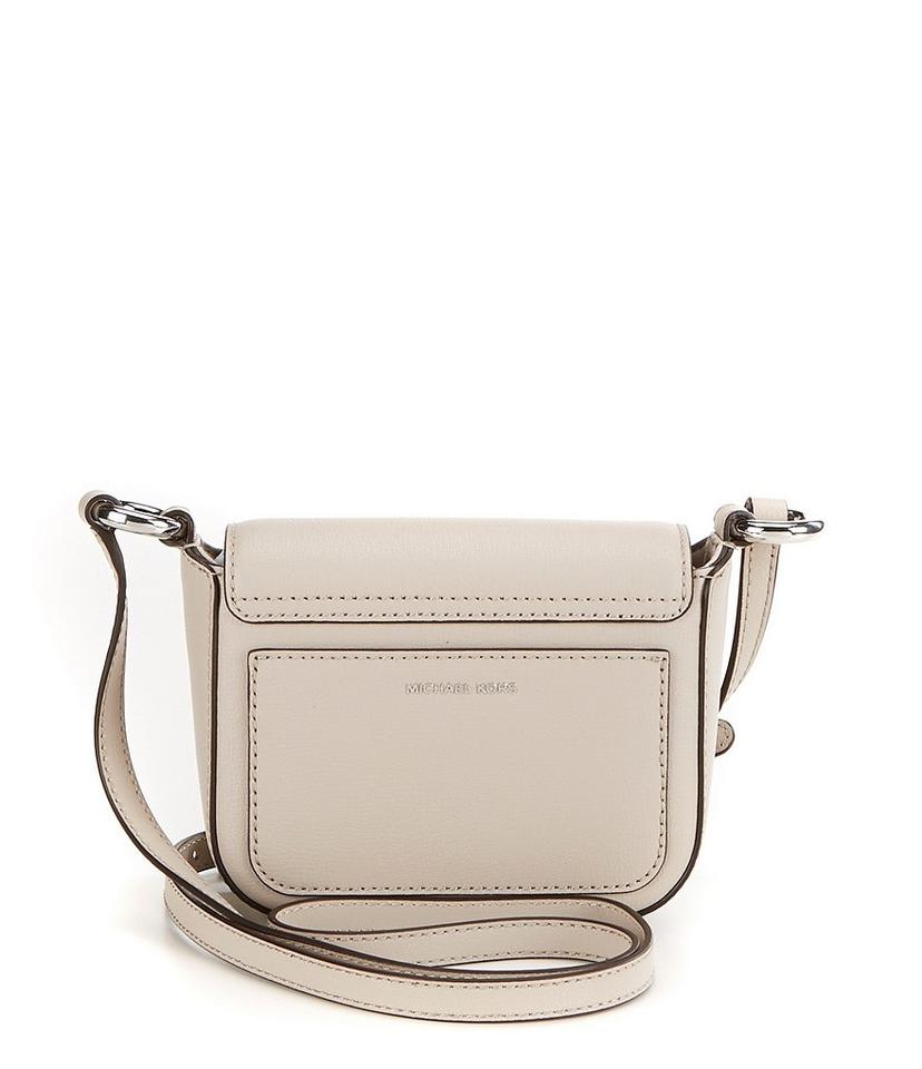 d6740cbe5fdf Michael Kors Rivington Large Flap Cement Silver Leather Cross Body ...