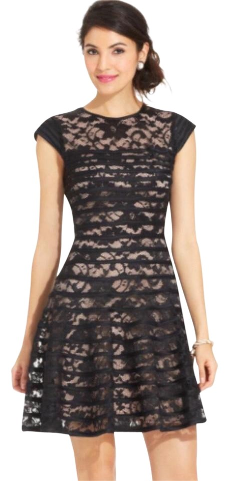 efbbfddf61a Betsy   Adam Black Satin Striped Illusion Lace Fit And Cocktail Dress