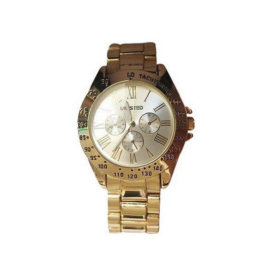 Unlisted 10029412 Women Gold Steel Band With Silver Analog Dial Watch Image 1
