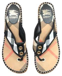Burberry Black and Tan Wedges