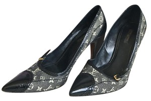 Louis Vuitton Mini Lin Monogram Canvas Black Pumps