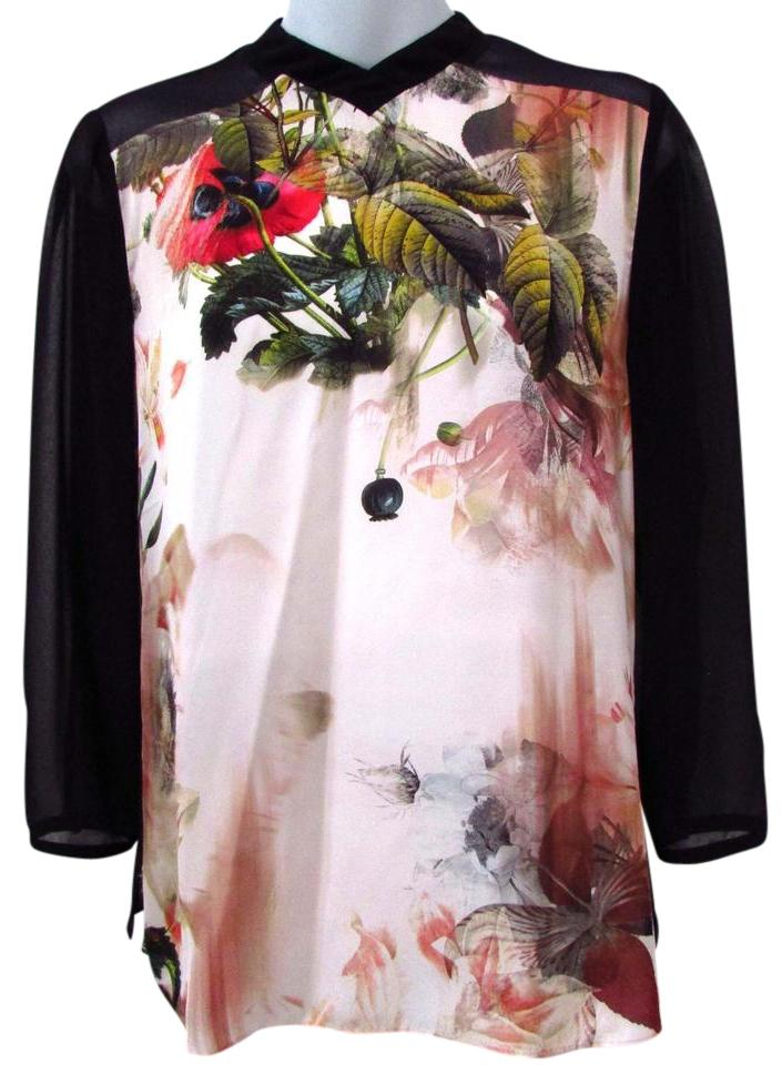 e560906bee08e Ted Baker Black High Necked Keyhole Floral Blouse Size 0 (XS) - Tradesy