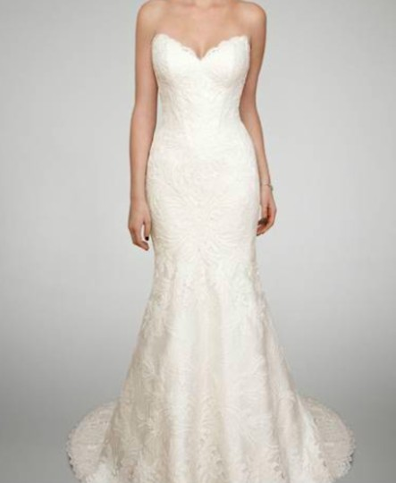Matthew Christopher Ivory Lace Trumpet Gown Formal Wedding Dress Size 6 (S) Image 1