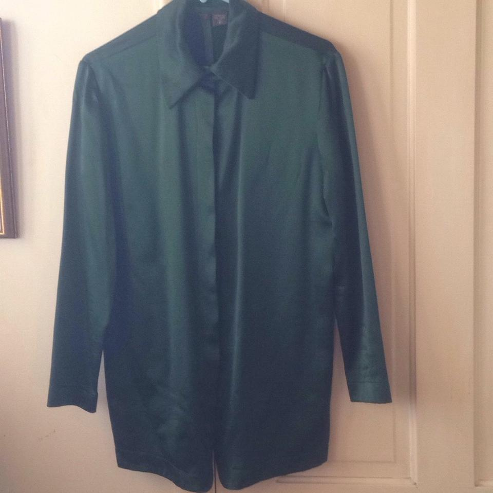 8747a84c2cd59 Green Vintage Holiday Silk Wool Blouse Size 8 (M) - Tradesy